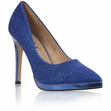 NEW WOMENS POINTED STILETTO HIGH HEEL PLATFORM COURT SHOES SIZE UK 3-8