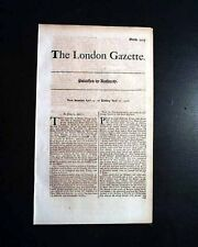 EARLY 18th Century Approx. 300 Yr Old LONDON GAZETTE England 1711-1719 Newspaper