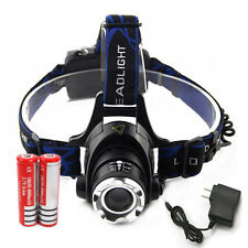 New 6000LM LED Zoomable Headlamp Head Light Torch + 2x18650 Battery + Charg