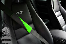 2X BLACK & LIGHT GREEN LEATHER TWO TONE LUXURY SHOULDER SEAT BELT PADDED PADS