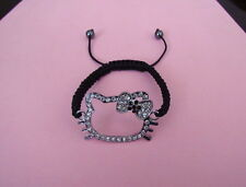 Black & White Crystal Hello Kitty  Shambala Hello Kitty Shamballa Bracelet