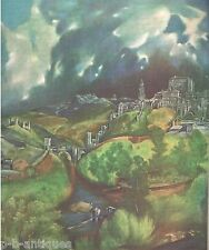 "1954 Art Print ""View of Toledo"" by El Greco Spanish Free Shipping"