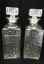 Crystal Glass Scotch Rye Decanters Etched Names On Bottles Stoppers Elegant Pair