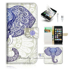 iPhone 5 5S Flip Wallet Case Cover! P1889 Aztec Elephant