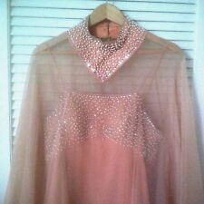 Hand Made Peach w/ Pearl & Crystal 2 Pc Mother of the Bride Dress w/ Sheer Cape