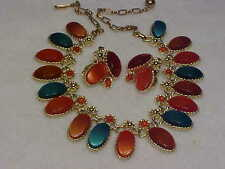 Vintage Signed Goldtone Pakula Lucite Thermoset Necklace & Earrings Set
