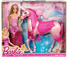 Sparkle Barbie Princess Doll with Pink Unicorn Horse play set - Mattel brand new