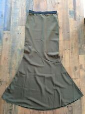Forever 21 Fluted Maxi Skirt Olive Green Sz XS