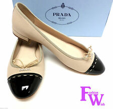 New PRADA Size 7.5 Natural Corda Cap Toe Ballet Flats 38 Shoes 7 1/2 w/ box
