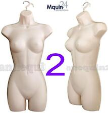 LOT of 2 FEMALE MANNEQUIN WOMAN DRESS BODY FORMS (FLESH/SIZE:SM - MD) w/HANGERS