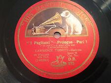 """LAWRENCE TIBBETT """"I Pagliacci""""  Prologue (Leoncavallo) 78rpm 12"""" 1927 DB975 EX+"""