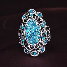 Small Round Cubic Zircon Silver Plated Lady Girl Rings Flower Design Jewelry