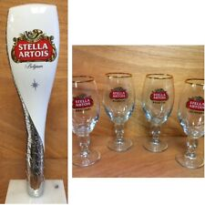 """Stella Artois Beer Tap Handle 12"""" - Four (4) 33 cl Glasses - Combo Set NEW F/Sh."""