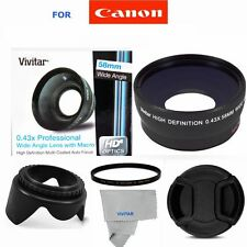 WIDE ANGLE +MACRO LENS HD  FILTER + HOOD FOR CANON EOS FITS ALL CANON 58MM THREA