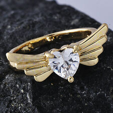Womens 14K gold filled Angel's Wings Clear Heart Crystal Band Ring Size 6