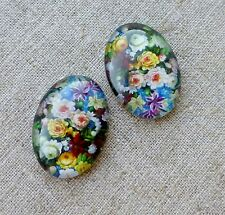 4pcs 25x18mm Domed Oval Cabochons With Flowers