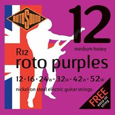 Rotosound R12 Roto Purples Electric Guitar Strings Gauge 12-52  - Made in the UK