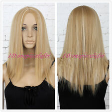 Wigs with No Bangs Medium Long Blond Wigs for Women synthtic Hair Wigs