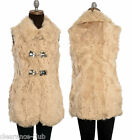 Sheepskin sleeveless jacket coat gilet leather front clasp fully lined UK size 8