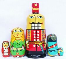 "Nutcracker Clara Mouse King Russian Nesting Dolls 6-1/2"" Fast Shipping"