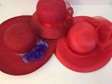 Lot of 3 Red Hat Society Women's Red and Purple Wide Brimmed Fancy Ribbon Hats