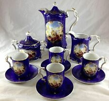 RS Prussia Cobalt Blue Gold Trim Full Size 13 Pc Tea Coffee Set Angels Soldier