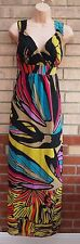 G21 CHIFFON MULTI COLOR ABSTRACT RARE SUMMER TEA LONG MAXI FLIPPY DRESS 12 M