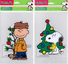 Peanuts Christmas Window Gel Clings featuring Charlie Brown, Snoopy & Woodstock