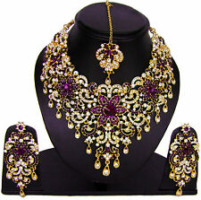 Kundan Nuggets Flower Design Stunning Jewelry Gold Toned Purple Bib Necklace Set