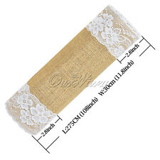 "US 1pc 12"" *108"" Burlap Lace Table Runner Jute Rustic Wedding Home Banquet Decor"
