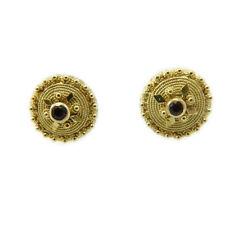 Orecchini a bottone sardo filigrana in oro giallo con pietra _ realizzati a mano