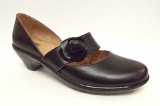 New SOFFT Size 7 Black Mary Jane Flats Shoes w/ flower