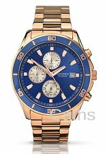 Sekonda Gents Rose Gold Plated Bracelet Watch Blue Chronograph Dial 1141