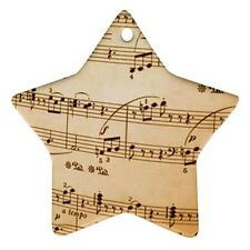 Music Notes Star Shaped Porcelain Christmas Ornament