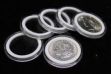 25 Airtite Coin Capsule Holders w WHITE Rings for Peace, Morgan & Ike Dollars