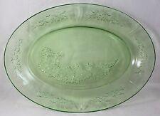"""Green Depression 12-1/2"""" x 9"""" Glass Serving Dish Platter Rose Vine Design"""