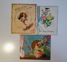Lot of 3 Vintage 1920's Adorable RIBBONED BIRTHDAY GREETING CARDS
