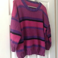 New Ladies Multi Coloured Striped Hand Knitted Jumper Size XL (UK)