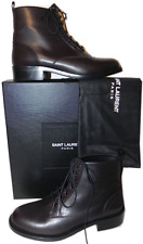 Yves Saint Laurent Hunt Ankle Boot Brown Leather Flat Bootie 38.5 YSL Combat