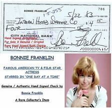 BONNIE FRANKLIN   FILM STAR ACTRESS  GENUINE HAND SIGNED BANK CHEQUE   RARE ITEM