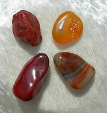 FOUR CARNELIAN CHALCEDONY POLISHED/ROUGH CRYSTALS- LOWER CHAKRA HEALING - 38.6gr