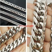 """7""""-11""""11/13/16/19mm Stainless Steel Cool Silver MENS Curb Cuban Chain Bracelet"""