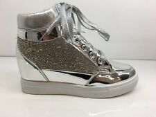 LADIES WOMENS ANKLE HIGH SILVER LACE UP HIDDEN WEDGE DIAMANTE TRAINERS SIZE 8