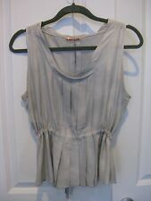 Prada Gray Pleated Peplum 100% Silk Blouse