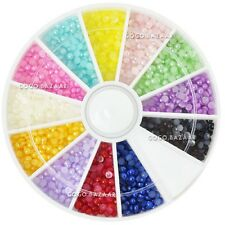 1200pcs 2mm Nail Art Decal Beads Rhinestone Acrylic UV Gel Wheel Pearl Color #73