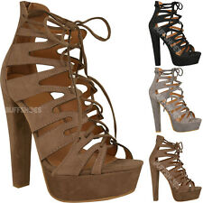 New Womens Ladies High Heel Platform Gladiator Sandals Lace Up Ankle Shoes Size