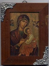 Italian icon Mother of God Jesus wooden-metal stamping plaque The Virgin Maria