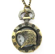 Adler Taschenuhr Kettenuhr Kette Uhr altgold-farbig Kette Adlerkopf Kopf Vintage