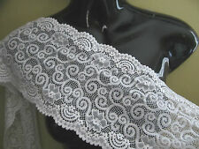 "6.5"" FANCY Scallop Edge TEXTURED STRETCH Lace Trim BTY  WHITE"