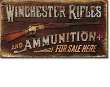 """Winchester Rifles"" and Ammunition, Tin Sign 8"" X 16"", Home Decor or Man Cave"
